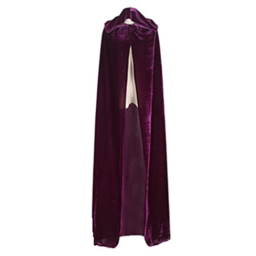 Unisex Witch Cloak with Large Hood Halloween Cloak Princess Ghost Renaissance Costume Cape (Adult-L, Purple)