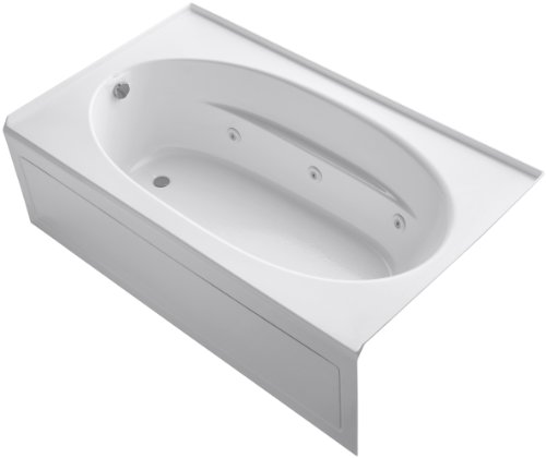 Kohler K-1114-LA-0 Windward 6Ft Whirlpool with Integral Apron and Left-Hand Drain, White