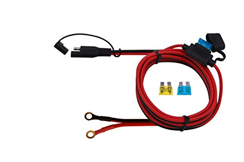 CUZEC 6FT/1.8m 16AWG Ring Terminal to SAE Harness Quick Connect/Disconnect Assembly, 15A Fuse (CU10300B)