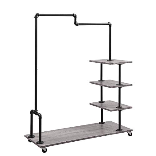 Organize It All 85759W1P Vintage Industrial Rolling Clothing Garment Display Rack, Wood Finish for Shelves, Black Pipe for Hanging