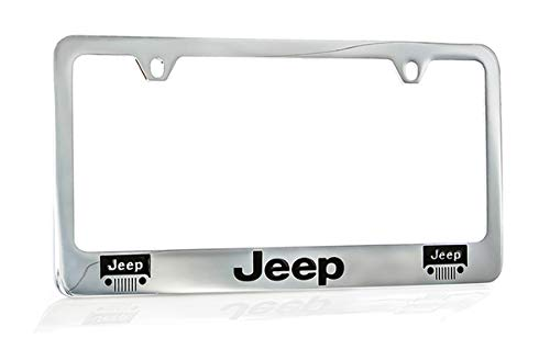Jeep Logo Chrome Plated Metal License Plate Frame Holder