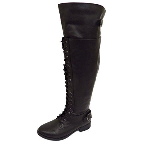 Damen Schwarz Extra Weite Passform Wade zum Schnüren Biker kniehoch Riding Militärstiefel Größen eu 39,5-44,5