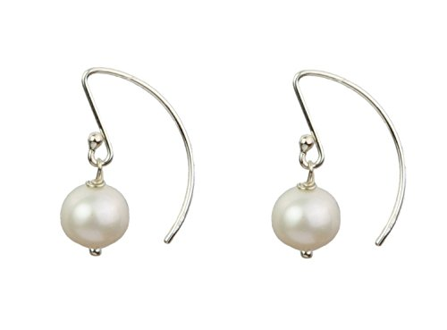 .925 Sterling Silver Cultured Freshwater Pearls Arched Dangle Earrings Jewelry