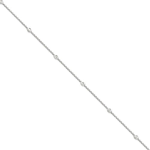 Solid 14k White Gold Diamond Rolo Anklet 9