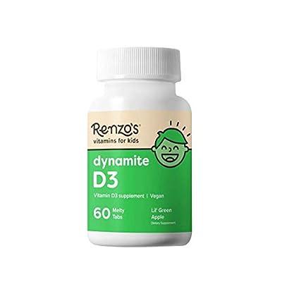 Renzo's Dynamite D3, Dissolvable Vegan Vitamins for Kids, Zero Sugar, Lil' Green Apple Flavor, 60 Melty Tabs