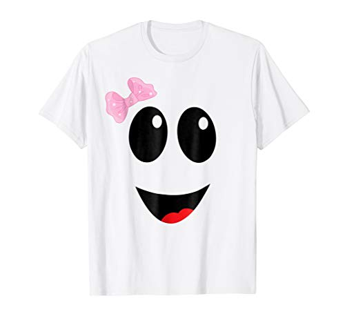 Spooky Face Ghost Girl T-Shirt Easy Funny Halloween Costume ()