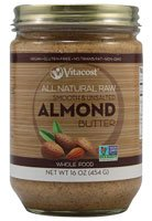 Vitacost Whole Food All Natural Raw Smooth & Unsalted Almond Butter -- 16 oz (454 g)
