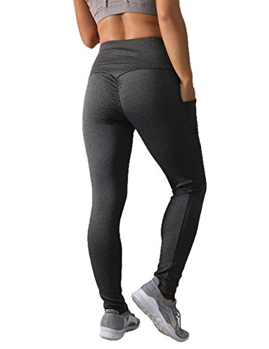 NORMOV High Waisted Yoga Pants for Women with Two Side Pockets-Workout,Yoga,Stretchy,Joggers,Butt Ruched Leggings Dark ()
