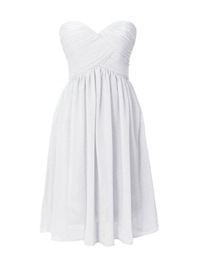 Snowskite Women's Chiffon Short Evening Prom Party Dress Homecoming Gowns 4 White