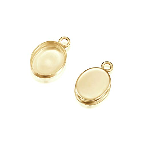 14k Gold-Filled Oval Setting with 1 Loop 8 x 10 mm Bezel Cup Findings for Pendants Charms Earrings, 2 Pcs