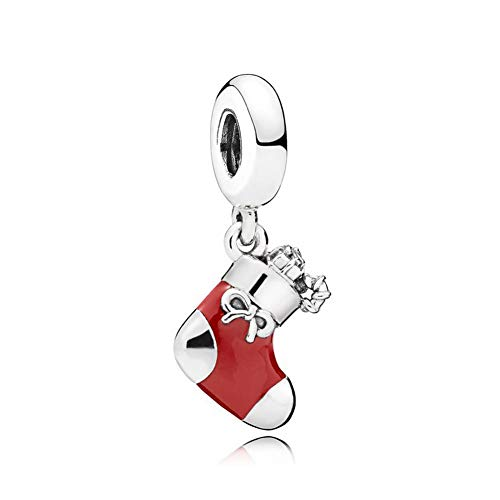 Romántico Amor Christmas Stocking &Gift Charms Berry Red Enamel Bow Silver Bead fit Pandora Bracelets