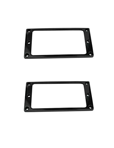 Guyker 2Pcs Pickup Mounting Rings for Humbucker - Metal Pickups Cover Frame Flat-Top Set Replacement Electric Guitar or Bass (Black)