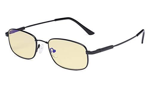 (Eyekepper Computer Glasses Men Women-Blue Light Blocking Reading Glasses-Memory Titamiun Readers,Black +1.50)