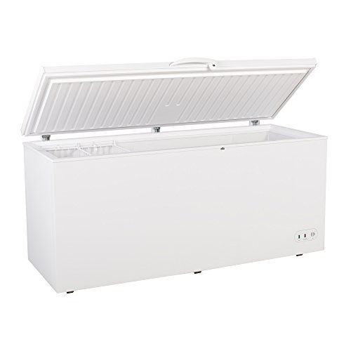 "Maxx Cold 71.3"" Wide Solid Hinged Top Commercial Sub Zer0 Chest Freezer Locking Lid NSF Garage Ready Keeps Food Frozen for 2 Days In Case of Power Outage, 19.4 Cubic Feet 549 Liter, White"