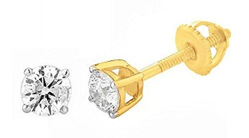 14k Yellow Gold Diamond Stud Earrings with Screw Backs (0.25 cttw, IJ / I2) IGI Certified . by EternalDia