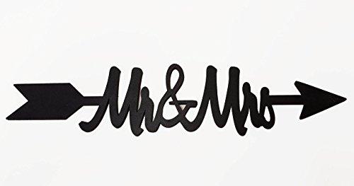 Mr & Mrs. Wood Cutout Arrow Black for Weddings or Home - Cut Arrow Out