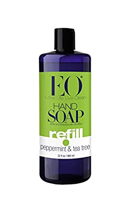 EO Hand Soap, Refill Size, Peppermint & Tea Tree, 32-Ounce Bottles (Pack of 2)