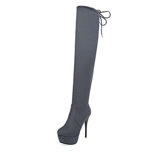 ENMAYER Frauen Flock Material High Heels Knie High Over-the-Knie Stiefel Schuhe für Frauen Winter Stiefel Grau