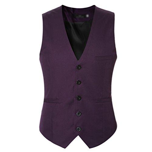 Veste Costume Blouson Violet Sans Homme Gilet Chengyang Mode Manches Business Fit Mariage Slim PIwFg