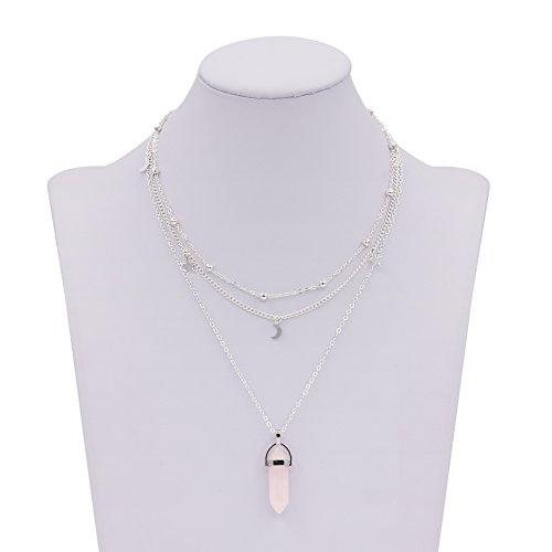 Zealmer Layered Necklace Pendant Rhinestone
