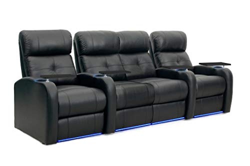 Octane Sonic XS900 Power Recline Black Leather Home Theater Seating (Set of 4)