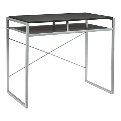 Benjara Benzara Metal Framed Wooden Desk with Lower Shelf, Black and Silver,