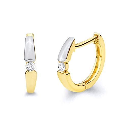 14k Two Tone Gold 2mm Thickness CZ Hoop Huggie Earrings (13 x 13 mm)