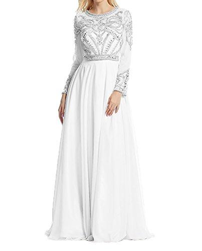 Lang Neu Promkleider Charmant Langarm Abendkleider 2018 Weiß Damen mit Abschlussballkleider Brautmutterkleider Damen qgf6tpZ