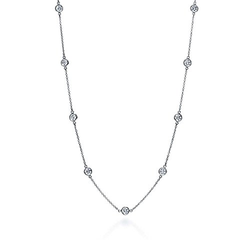 - NYC Sterling Sterling Silver Round Cubic Zirconia Station Necklace 18