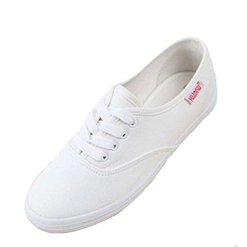 Angelliu Mujeres Casual Canvas Lace Up Sneakers Gem Zapatos Flats Blanco