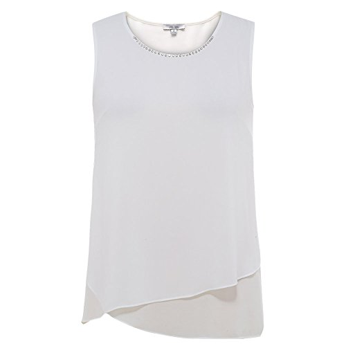 Mccmococo Women's Elegant Chiffon Tank Tops Plus Size Sleeveless Fashion T Shirts Beaded Chiffon Tank