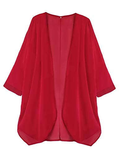 Finoceans Womens Bathing Suit Cover Ups Dress Shawl Chiffon XL Red