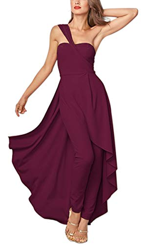 Angashion Women's Jumpsuit - One Shoulder Overlay Backless Irregular High Low Long Party Pleated Maxi Playsuit Dresses Wine Red S