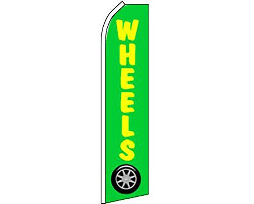 - ALBATROS Wheels Green Yellow Swooper Super Feather Advertising Flag for Home and Parades, Official Party, All Weather Indoors Outdoors