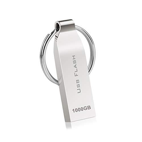 🥇 Kaulery Memoria USB 1TB Mini Pen Drive Impermeable Disco Duro Externo Metal Memoria Externa con Llavero USB 3.0 Memory Stick para PC / Portátil / Almacenamiento de Datos Externo(1000g)