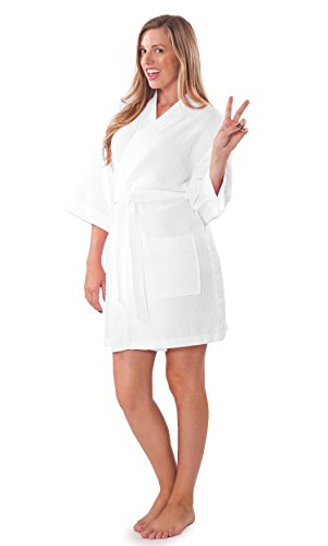Turquaz Linen Lightweight Knee Length Waffle Kimono Bridesmaids Spa Robe (Small/Medium, White) by Turquaz Linen (Image #1)