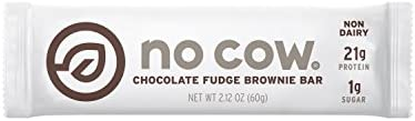 No Cow Protein Bar, Chocolate Fudge Brownie, 21g Plant Based Protein, Low Sugar, Dairy Free, Gluten Free, Vegan, High Fiber, Non-GMO, 12 Count - 2.12 oz Each