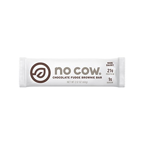 (No Cow Protein Bar, Chocolate Fudge Brownie, 21g Plant Based Protein, Low Sugar, Dairy Free, Gluten Free, Vegan, High Fiber, Non-GMO, 12 Count - 2.12 oz Each)