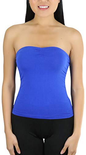 ToBeInStyle Women's Straight Neckline Ruched Knit Tube Top - Royal Blue - M