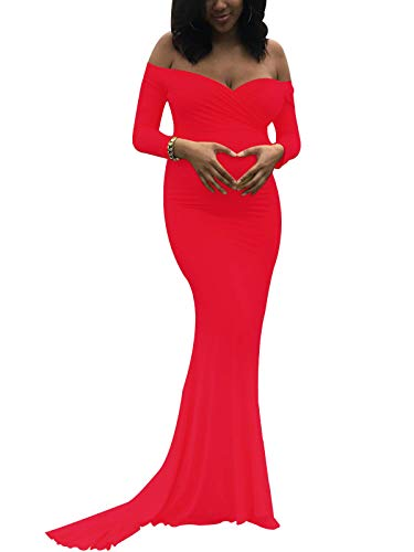 Saslax Maternity Elegant Fitted Maternity Gown Long Sleeve Slim Fit Maxi Photography Dress Heart Red M ()