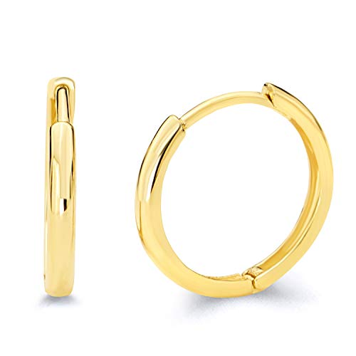 14k Yellow Gold 2mm Thickness Hoop Huggie Earrings (15 x 15 mm) ()