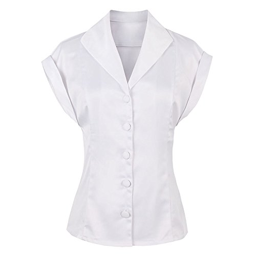 (ZAFUL Women's Elegant Silk Shirt Satin Monochrome Plain Evening Shirt Button Vintage)