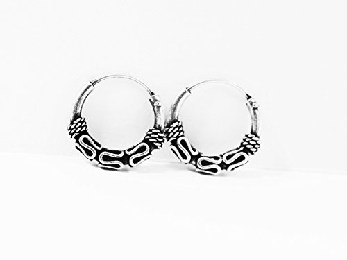 Bali Wave - Sterling Silver Tribal Bali Waves Twist Hoops Earrings 12mm -Cartilage Hoop Earrings