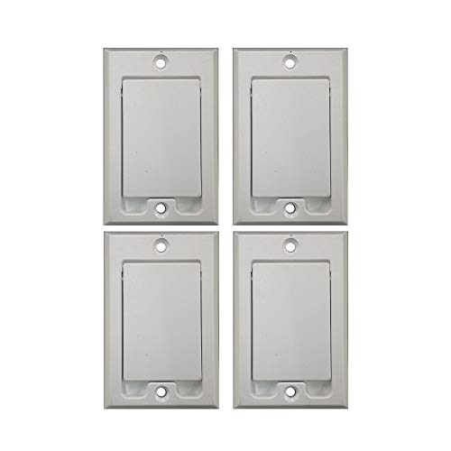 (Central Vacuum Square Door Inlet Wall Plate for Nutone Beam VacuFlow - White (4-Pack))