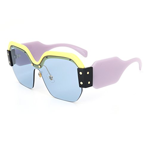 ROYAL GIRL Semi Rimless Sunglasses For Women Trendy Candy Color Fashion Designer Vintage Inspired Glasses (Purple-Blue, 57) ()