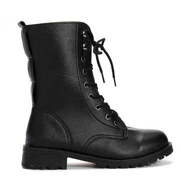 Women's Cool Black Punk Knight Lace-up Short Boots - Boots Motorcycle Boots - (9) - 1 1 pair of short boots