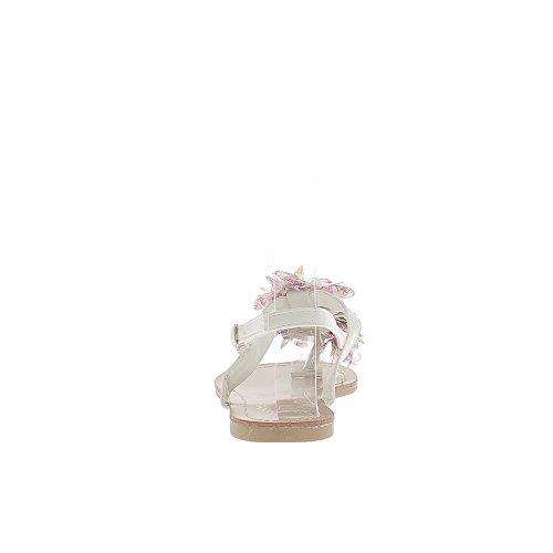 de blancas dedo con tela la de Sandalias entre de decoración plana flor UwTqARX4