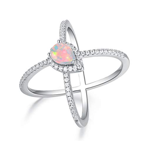 OPALBEST White Gold Plated Pear Fire Opal Criss Cross X Ring Halo CZ for Women Girls Hypoallergenic (8) ()