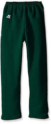 Russell Athletic Big Boys' Youth Dri-Power Fleece Open Bottom Pocket Pant, Dark Green, (Large Dark Green)