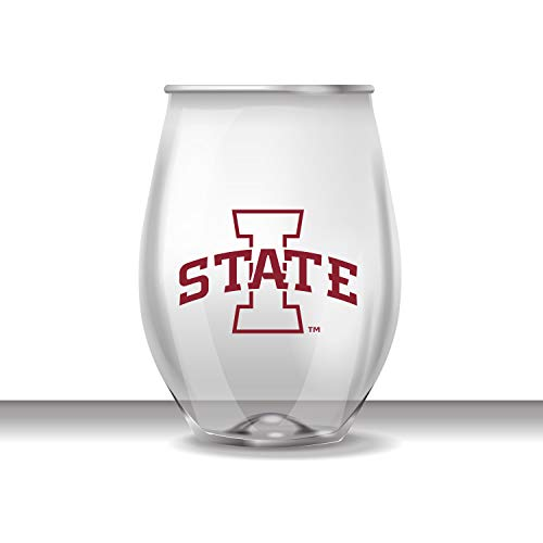 (JAYMAC Iowa State Cyclones Stemless Shatterproof Heavy Duty Wine or Beverage Glass Set of)